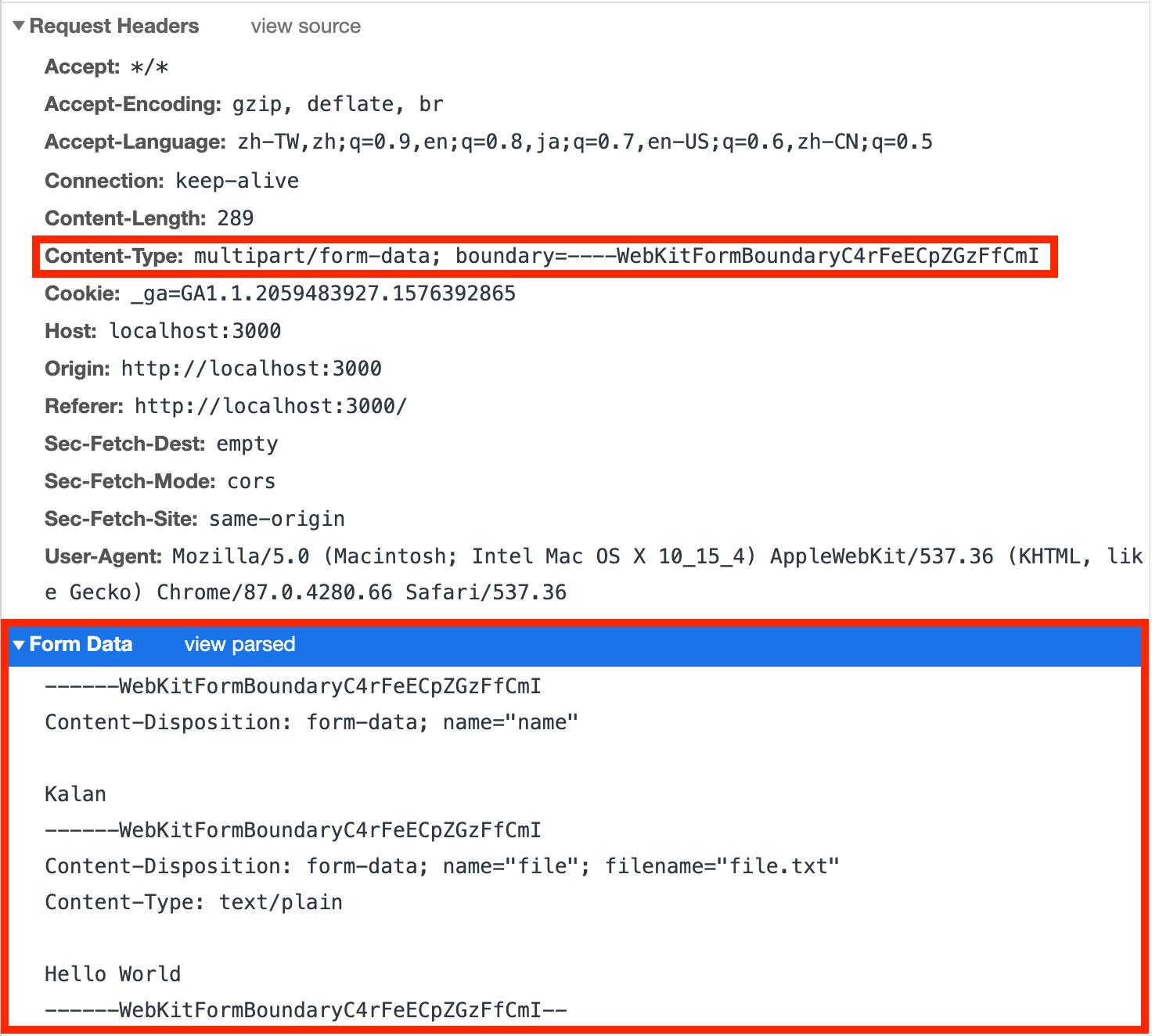 用 fetch 與 FormData 傳送 multipart form-data 請求